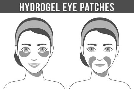 Black and white illustration of hydrogel eye patches. Cosmetic collagen eye patches against facial wrinkles. Eye patches for beauty and skin care. Vector Vektorgrafik