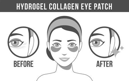 Black and white illustration of hydrogel eye patches. Cosmetic collagen eye patches. Black and white of eye patches for beauty and skin care. Vector
