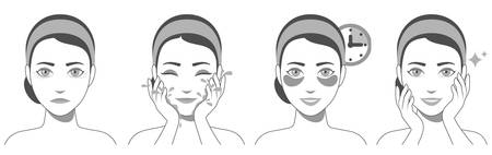 Process of applying and using hydrogel eye patches. Cosmetic collagen eye patches. Black and white illustration of eye patches for beauty and skin care. Vector Vektorgrafik