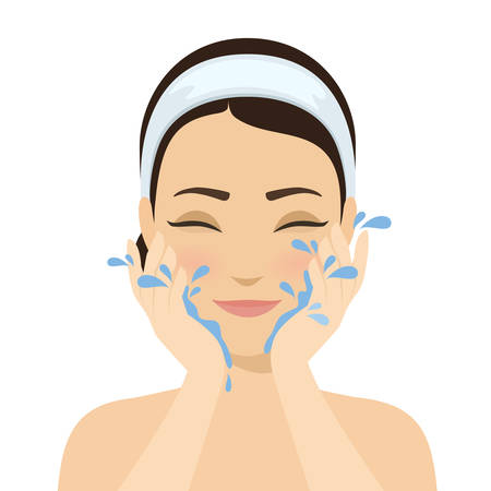 Girl washing face with water. Skin cleansing, beauty treatments, skin washing. Cosmetic and skin care procedure. Vector