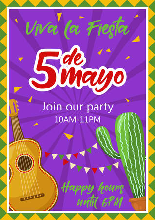 Cinco de mayo invitation banner, poster for mexican traditional fiesta. Mexican guitar and cactus. Vector