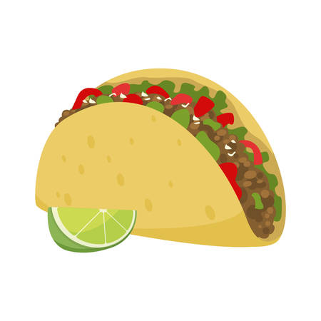 Mexican traditional food - taco, snack for a party, forcemeat with tortilla and vegetables. Vector