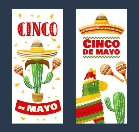 Set of cinco de mayo vertical banners, mexican traditional fiesta. Vector