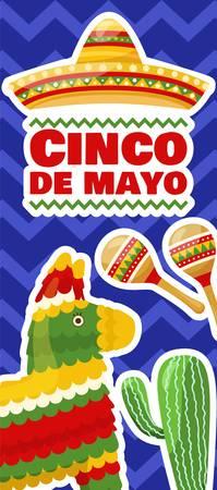 Cinco de mayo vertical banner, mexican traditional fiesta. Pair of maracas, donkey pinata and cactus. Vector
