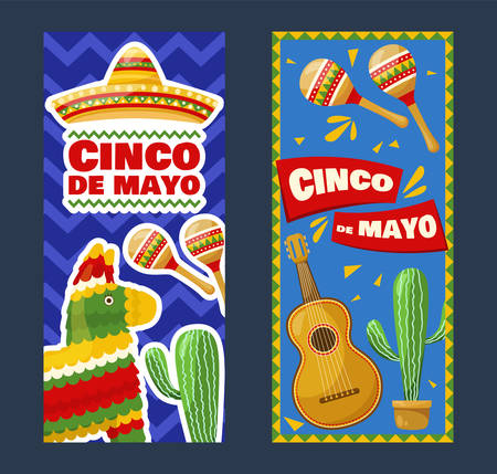 Set of cinco de mayo vertical banners, mexican traditional fiesta. Vector