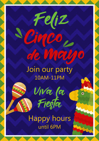 Cinco de mayo invitation banner, poster for mexican traditional fiesta. Pair of maracas and donkey pinata. Vector