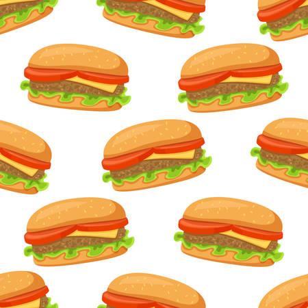 Seamless pattern of street takeaway junk food Burger cheeseburger. Vector