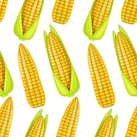 Seamless pattern of street takeaway junk food sweet boiled corn. Vector