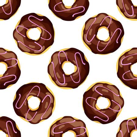 Seamless pattern of street takeaway junk food icing donut. Vector Ilustração