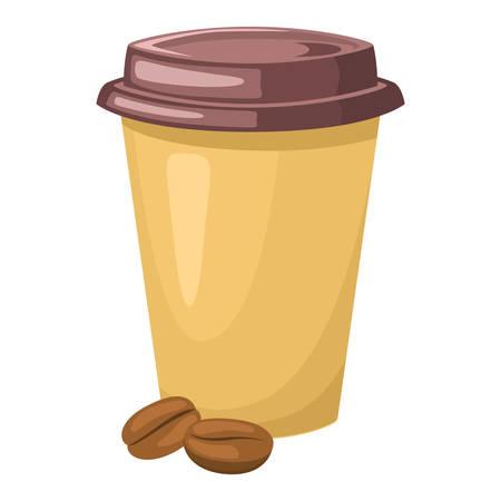 Street takeaway junk food Coffee in a paper cup. Vector