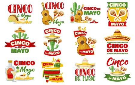 Set of cinco de mayo badges, mexican traditional fiesta. Vector