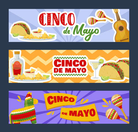 Set of cinco de mayo horizontal banners, mexican traditional fiesta. Vector