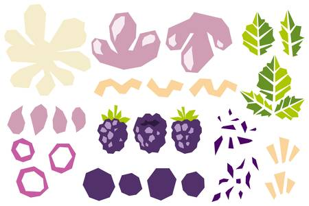 Set of various shapes abstract doodle objects, blackberry and leaves. Paper cut modern contemporary style. Vector 矢量图像