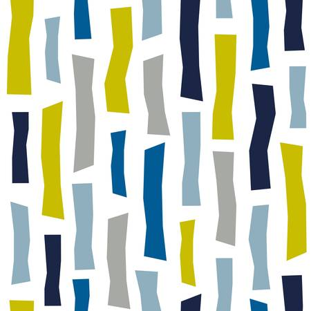 Seamless pattern of abstract doodle objects - stripes, rectangle. Paper cut modern contemporary style. Vector