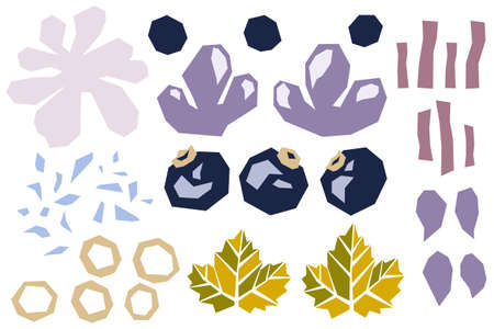 Set of various shapes abstract doodle objects, blueberries, bilberry and leaves. Paper cut modern contemporary style. Vector
