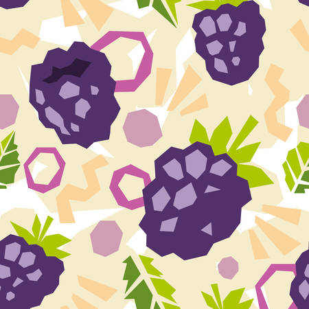 Seamless pattern of abstract doodle objects, blackberry and leaves. Paper cut modern contemporary style. Vector