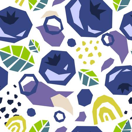 Seamless pattern of abstract doodle objects, blueberries and leaves. Cut out modern contemporary style. Vector