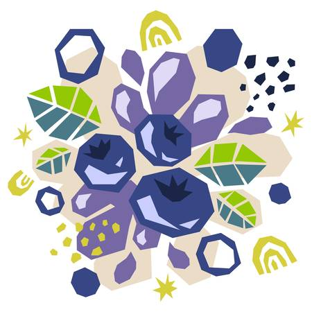 Abstract doodle objects, blueberries and leaves. Cut out modern contemporary style. Vector 矢量图像