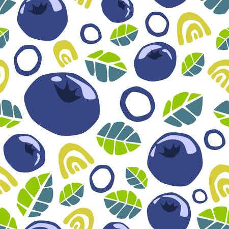 Seamless pattern of abstract doodle objects, blueberries and leaves. Vector