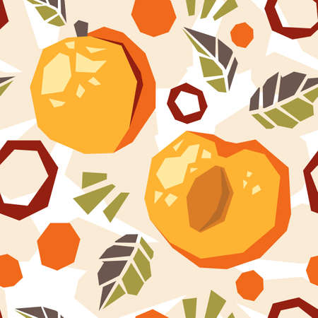 Seamless pattern of abstract doodle objects, apricot, peach and leaves. Paper cut modern contemporary style. Vector