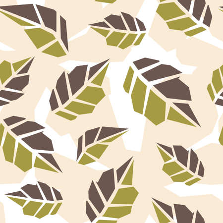 Seamless pattern of abstract doodle objects, leaves. Paper cut modern contemporary style. Vector