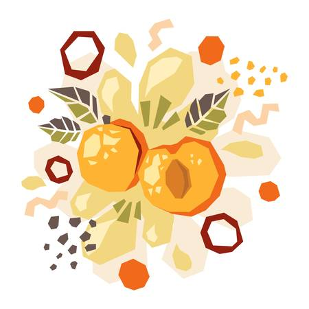 Abstract doodle objects, apricot, peach and leaves. Paper cut modern contemporary style. Vector