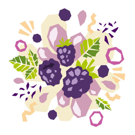 Abstract doodle objects, blackberry and leaves. Paper cut modern contemporary style. Vector