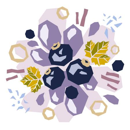 Abstract doodle objects, blueberries and leaves. Paper cut modern contemporary style. Vector