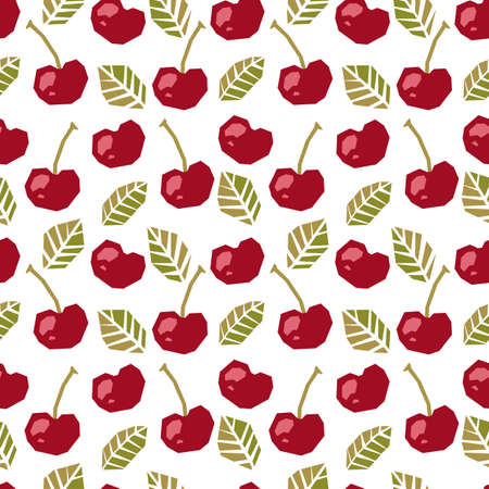 Seamless pattern of abstract cherry. 矢量图像