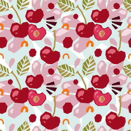 Seamless pattern of abstract doodle objects, cherry.