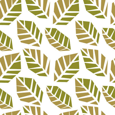 Seamless pattern of abstract doodle objects, leaves.