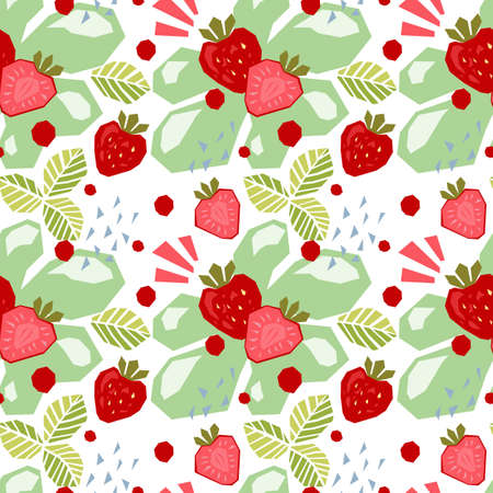 Seamless pattern of abstract doodle objects, strawberry.