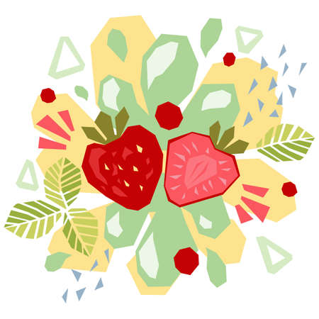 Abstract doodle objects, strawberry and leaves. Paper cut modern contemporary style. Vector