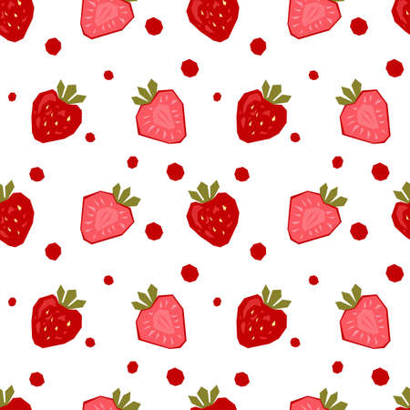 Seamless pattern of abstract strawberry.