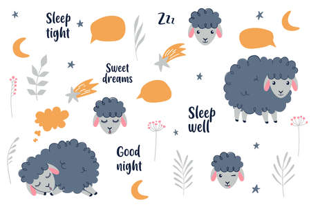 Cute sheeps collection. Sweet dreams, Counting sheeps - Baby nursery collection. Vector