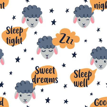 Cute sheep seamless pattern. Sweet dreams, Counting sheeps - Baby nursery collection. Vector