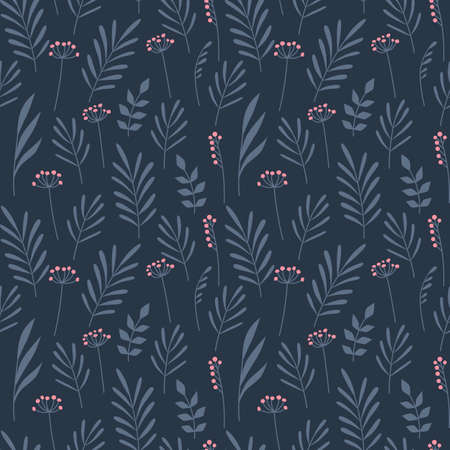 Floral seamless pattern in doodle style with flowers and leaves. Vector Ilustração