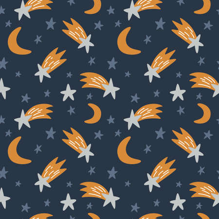 Seamless background with stars, comets and moon. Vector Ilustração