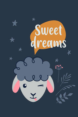 Good Night and Sweet Dreams colorful poster with cute sheep. Vector Ilustração