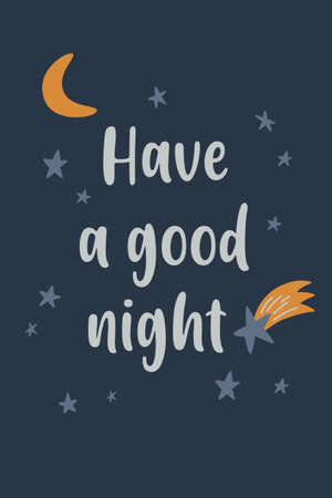 Good Night and Sweet Dreams colorful poster. Vector