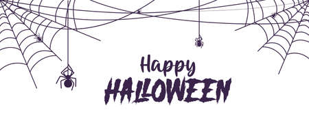 Halloween banner with cobweb and spider for scary Halloween design. Vector Ilustração