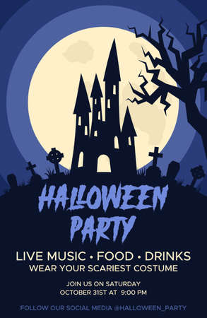 Happy Halloween promo flyers with Halloween elements, castle, graves, cemetery. Halloween party poster. Vector Ilustração