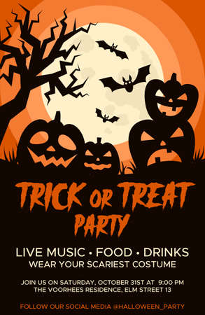 Happy Halloween promo flyers with Halloween elements, moon, pumpkins, bats and place for text. Halloween party poster. Vector