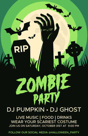 Happy Halloween promo flyers with Halloween elements, graves, cemetery and zombie hand. Halloween party poster. Vector Ilustração