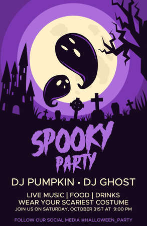 Happy Halloween promo flyers with Halloween elements, castle, graves, cemetery and ghosts. Halloween party poster. Vector