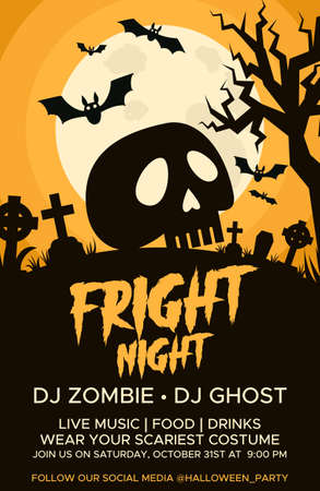 Happy Halloween promo flyers with Halloween elements, graves, cemetery and skull. Halloween party poster. Vector
