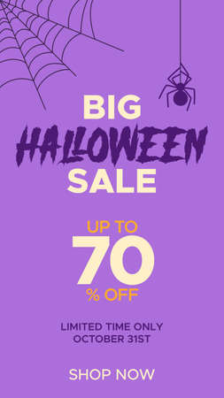 Happy Halloween promo sale template for Social Media stories. Vector