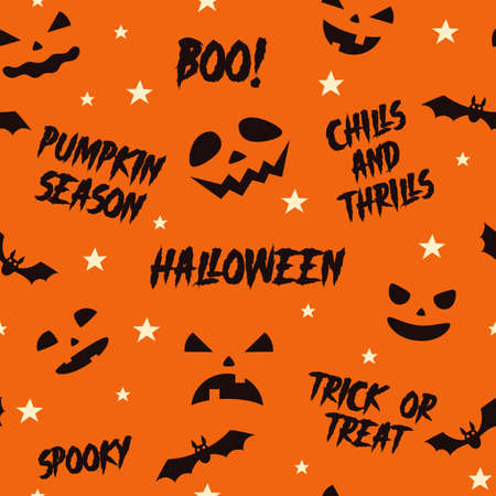 Halloween seamless pattern with scary faces of Halloween pumpkin and quotes. Vector