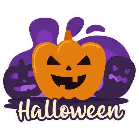 Halloween premade composition with pumpkin and ghost. Vector