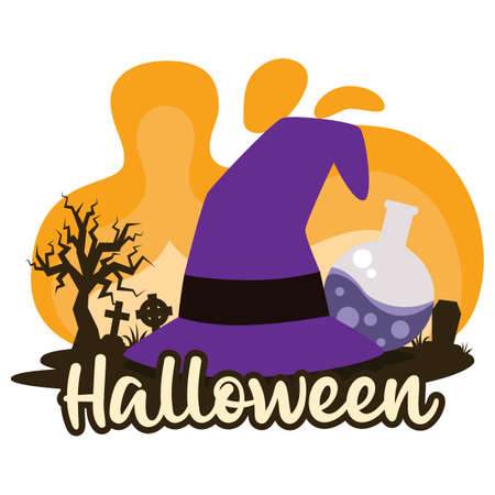 Halloween premade composition with witch hat. Vector